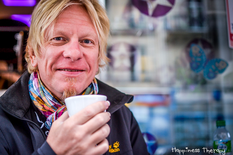 """Volker : """"Happiness is a good song in the morning, a coffee, my wife and meeting people like you! Stay happy my friend !"""""""